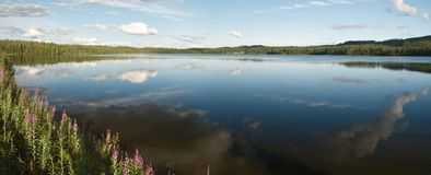 Lanscape of Kuusamo region were bgins Lapland Stock Images