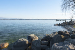 Lanscape of the Lake Garda during winter, from Peschiera del Gar Stock Images