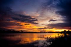 Lanscape lake view park and twilight sunset in the evening time Stock Image