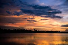 Lanscape lake view park and twilight sunset in the evening time Stock Images