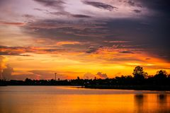 Lanscape lake view park and twilight sunset in the evening time Royalty Free Stock Images