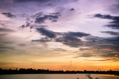 Lanscape lake view park and twilight sunset in the evening time Stock Photo