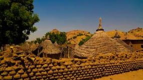Lanscape with Mataya village of sara tribe people, Guera, Chad. Lanscape with Mataya village of sara tribe aka Ngambaye or Madjingaye or Mbaye people, Guera royalty free stock photo