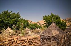Lanscape with Mataya village of sara tribe people, Guera, Chad. Lanscape with Mataya village of sara tribe aka Ngambaye or Madjingaye or Mbaye people, Guera stock image