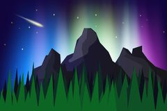 Lanscape mountain view with aurora borealis. Abstract background vector illustration,The northern lights Royalty Free Stock Photography