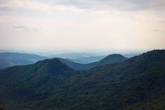 Lanscape with mountain virgin forest and hills in the horizon Royalty Free Stock Image