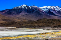 Lanscape, när resa i Laguna Verde, Bolivia Royaltyfria Bilder