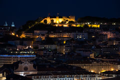Lanscape night view from Lisbon, Portugal. Royalty Free Stock Images