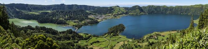 Lanscape od powulkanicznego krateru jeziora Sete Citades w Sao Miguel wyspie Azores Portugalia Obrazy Stock