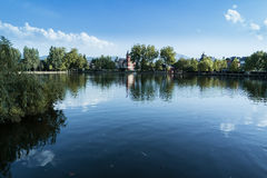 Lanscape of Puigcerdà lake on a sunny day,Cerdanya, Catalonia Royalty Free Stock Photos
