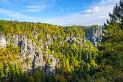 Lanscape in Saxon Switzerland near Bastei Stock Photo