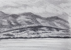 Lanscape scenery with lake and mountains, pencil drawing. Lanscape scenery with lake and mountains, pencil drawing Royalty Free Stock Image