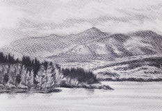 Lanscape scenery with lake and mountains, pencil drawing. Lanscape scenery with lake and mountains, pencil drawing Stock Photos