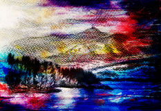 Lanscape scenery with lake and mountains, pencil drawing, magical color effect. Lanscape scenery with lake and mountains, pencil drawing, magical color effect Royalty Free Stock Photography