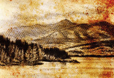 Lanscape scenery with lake and mountains, pencil drawing, vintage effect. Lanscape scenery with lake and mountains, pencil drawing, vintage effect Stock Photo