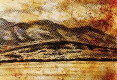 Lanscape scenery with lake and mountains, pencil drawing, vintage effect. Lanscape scenery with lake and mountains, pencil drawing, vintage effect Stock Photography