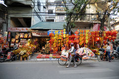 Lanscape of a street market in Hanoi Royalty Free Stock Photography