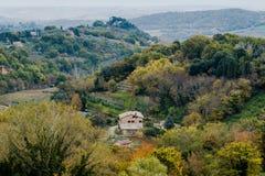 Lanscape van panoramische de dagmening van Toscanië, Italië stock fotografie