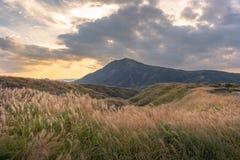Lanscape verde com fundo de Aso da montanha, Kusasenri, Aso, Kumamoto, Kyushu, Japão fotos de stock