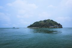 Lanscape view of island in Thailand with blue water and sky. And white cloud royalty free stock photo
