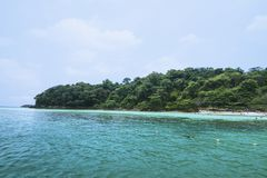 Lanscape view of island in Thailand with blue water and sky. And white cloud royalty free stock photography