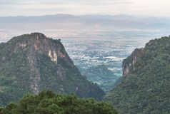 Lanscape view town of Mae Sai district looking from viewpoint Doi Pha Mee or Bear mountain Mae Sai stock images