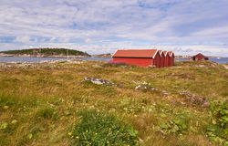 Lanscapes from norwegian island in the summer -  red fisherman's hut Stock Images