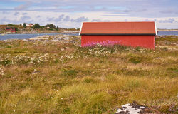 Lanscapes from norwegian island in the summer -  red fisherman's hut Stock Photo