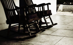 Lansdowne. Rocking chairs in a courtyard in a hill station in India Stock Image
