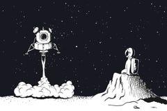 Lansering för mån- enhet som landar på månen Royaltyfri Bild