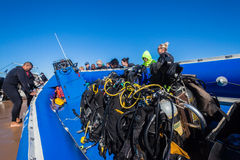 Lansering för strand för dykareutrustningfartyg Royaltyfri Bild