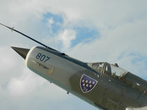 Lansiär för MiG 21 ut ur kommissionen som används som en garnering, nära Cluj, Arkivbilder