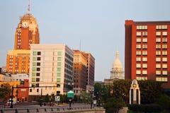 Lansing, Michigan ad alba fotografia stock libera da diritti