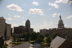Lansing Skyline. A view of the Anderson office building, the Romney building, Boji Tower, the Senate building, and the State Capitol royalty free stock images