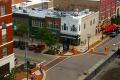 Lansing van de binnenstad van hierboven Stock Foto's
