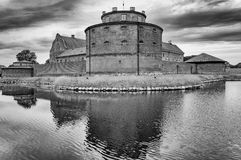 Lansskrona citadell bw in skane sweden. Landskrona citadell is an old fort in the south part of sweden Royalty Free Stock Photo