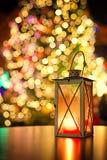 Lantaarn bij Europese Kerstmismarkt Stock Afbeeldingen