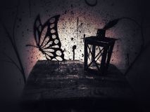 Lantaarn en de Vlinder stock foto