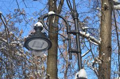 lantaarn in het park, straatlantaarn, metaallantaarn, lantaarnpaal, lantaarn in de sneeuw royalty-vrije stock afbeelding
