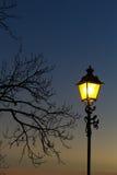 Lantaarnpaal in de zonsondergang Stock Foto
