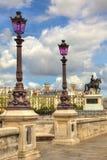 Lantaarnpalen op Pont Neuf. Parijs, Frankrijk. Royalty-vrije Stock Foto