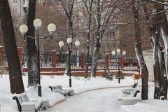 Lantaarns in de winterpark in bewolkt weer royalty-vrije stock afbeelding