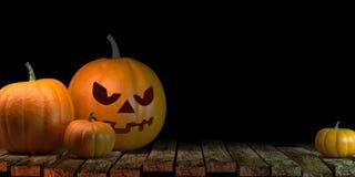 Lantaarns die bij Maanlicht in de Griezelige Nacht gloeien - Halloween-Scène, het 3d teruggeven royalty-vrije illustratie