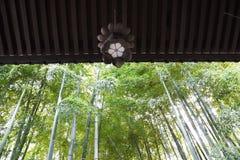 Lantaarns en bamboebos in de Japanse tempel royalty-vrije stock fotografie