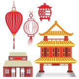 Lantaarns en Tempels Chinees in Vectoren Stock Afbeelding