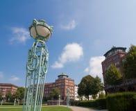 Lantaarns in Friedrichsplatz dichtbij het Watertoren van Mannheim Stock Foto
