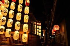 Lantaarns van Gion-festivalnacht, Kyoto in de zomer Stock Afbeelding