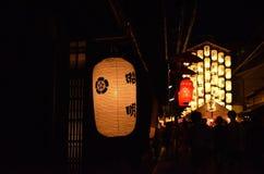 Lantaarns van Gion-festivalnacht, Kyoto in de zomer Royalty-vrije Stock Foto