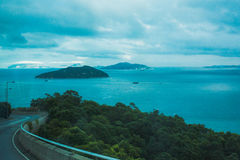 Lantau Island Drive. Driving along the coast of Lantau Island in Hong Kong Stock Photo