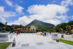 Lantau szczyt od Po Lin monasteru zdjęcia stock